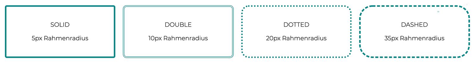 Vier Beispiele mit unterschiedlichen border radius Werten