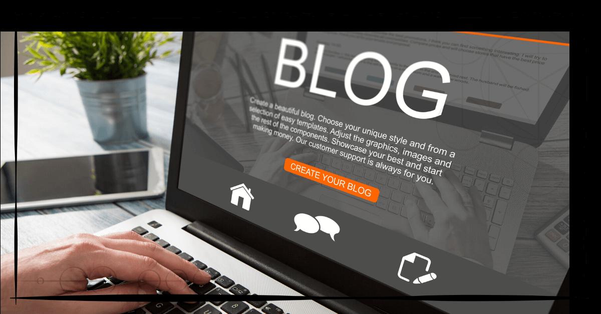 """B! Das Bild zeigt den Bildschirm eines Laptops, auf dem das Wort """"Blog"""", sowie ein Platzhaltertext geschrieben steht. Darunter sind drei Icons abgebildet: Ein Haus, zwei Sprechblasen sowie ein Papier mit einem Stift."""
