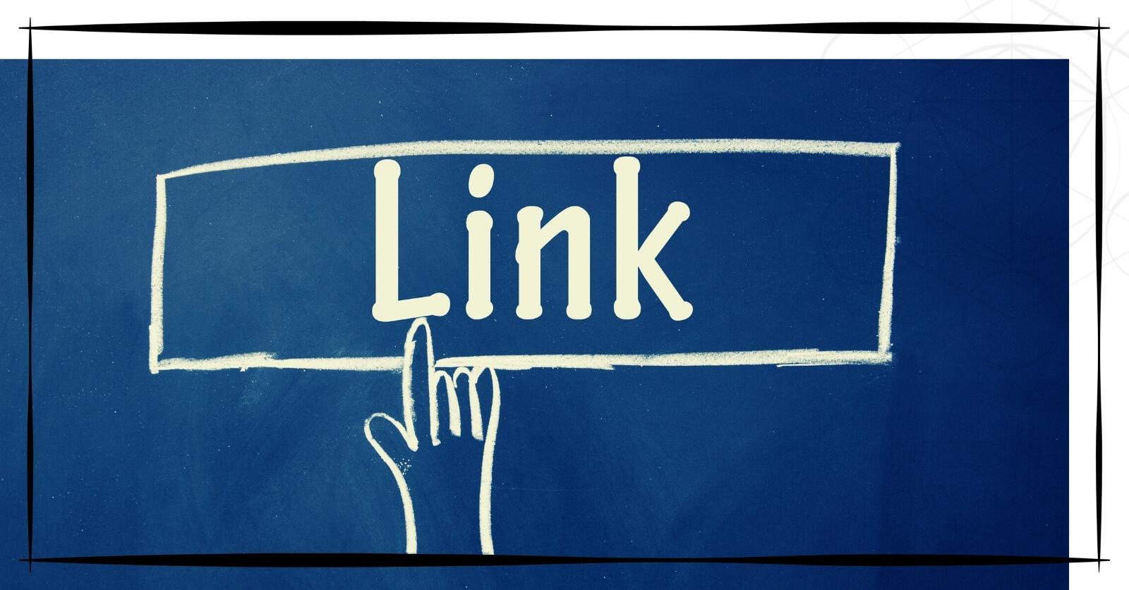 """Bild zeigt eine gezeichnete Hand, die auf ein Rechteck mit dem Wort """"Link"""" zeigt."""